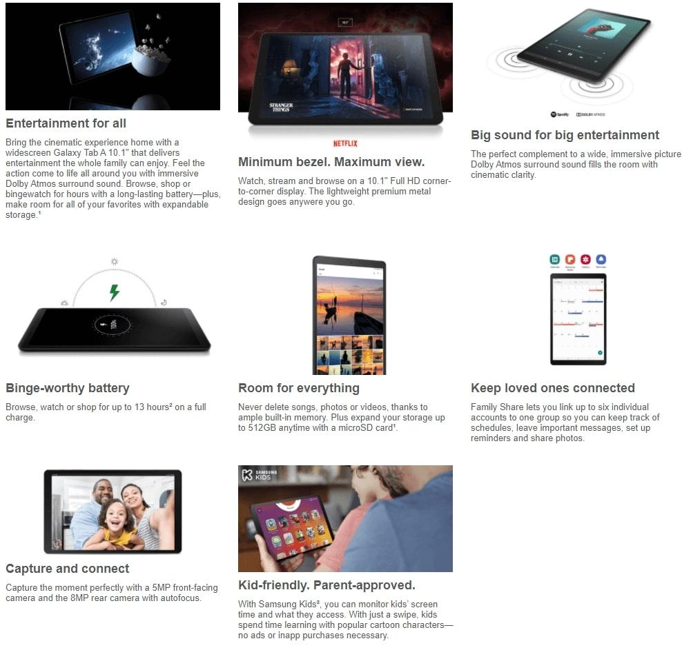 """SAMSUNG Galaxy Tab A 10.1"""" 32GB Tablet,- SM-T510NZKAXAR"""