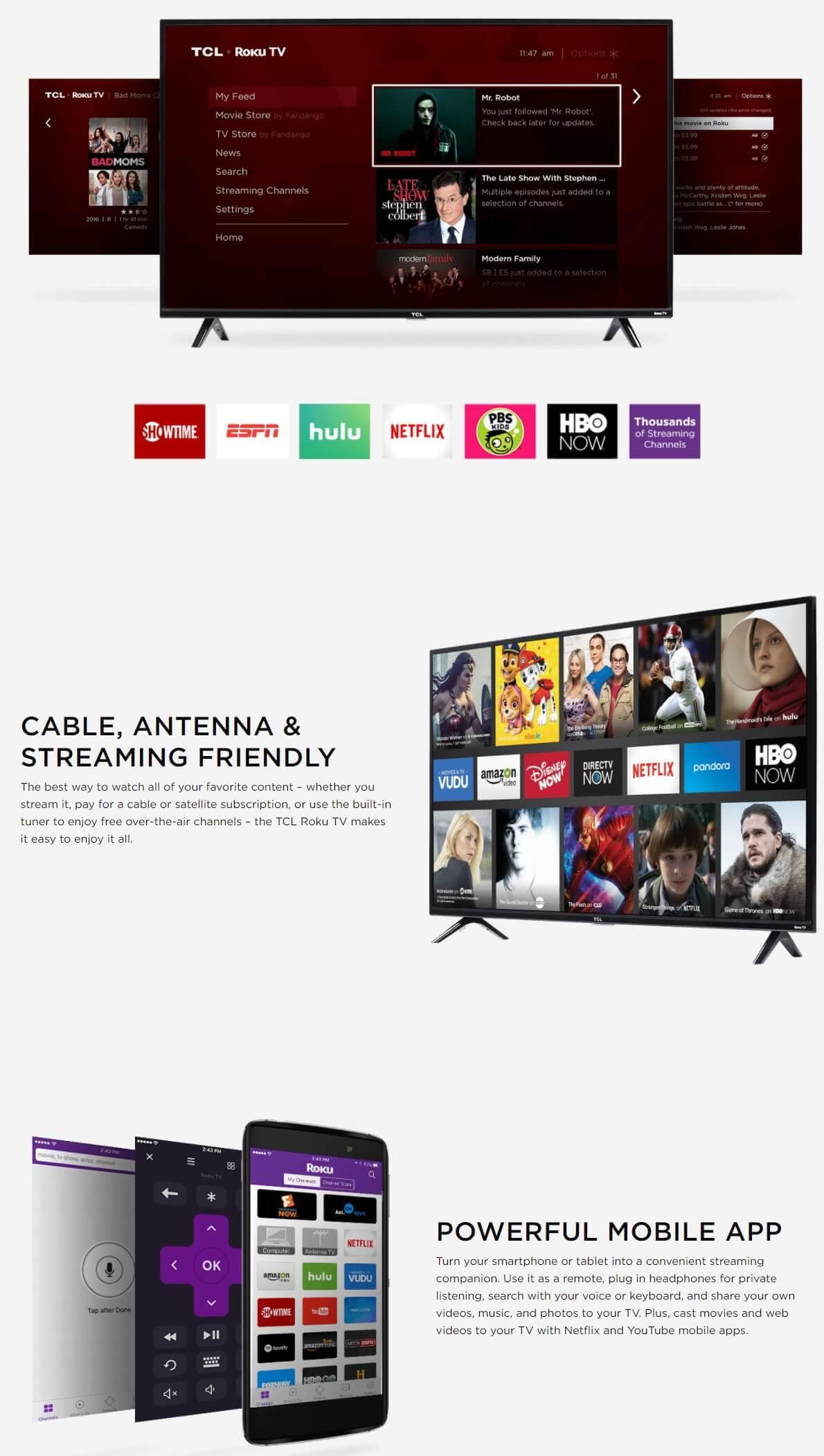 TCL 55 Class 4K UHD LED Roku Smart TV HDR 4 Series