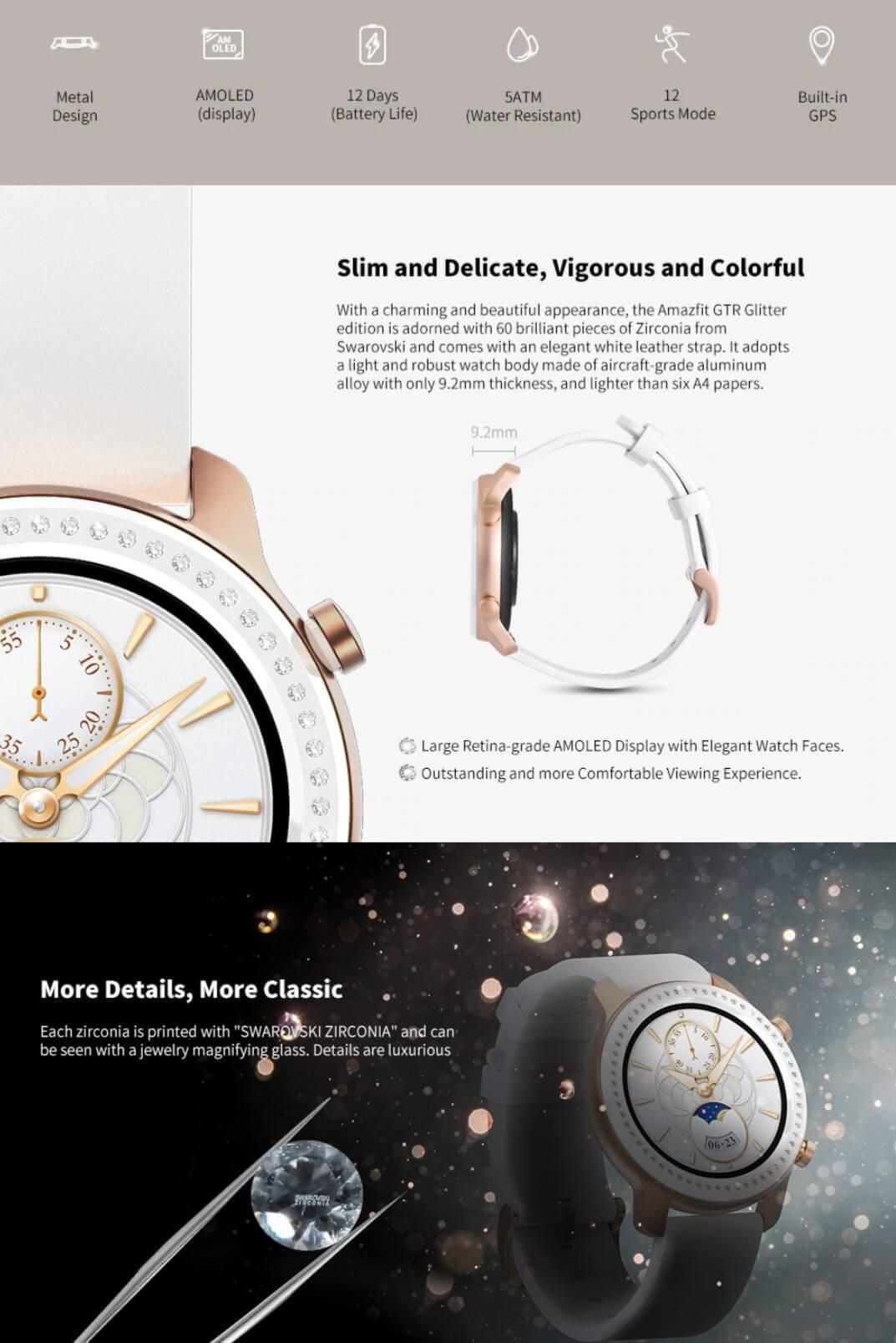 AMAZFIT GTR 42mm Smart Watch Glitter Edition