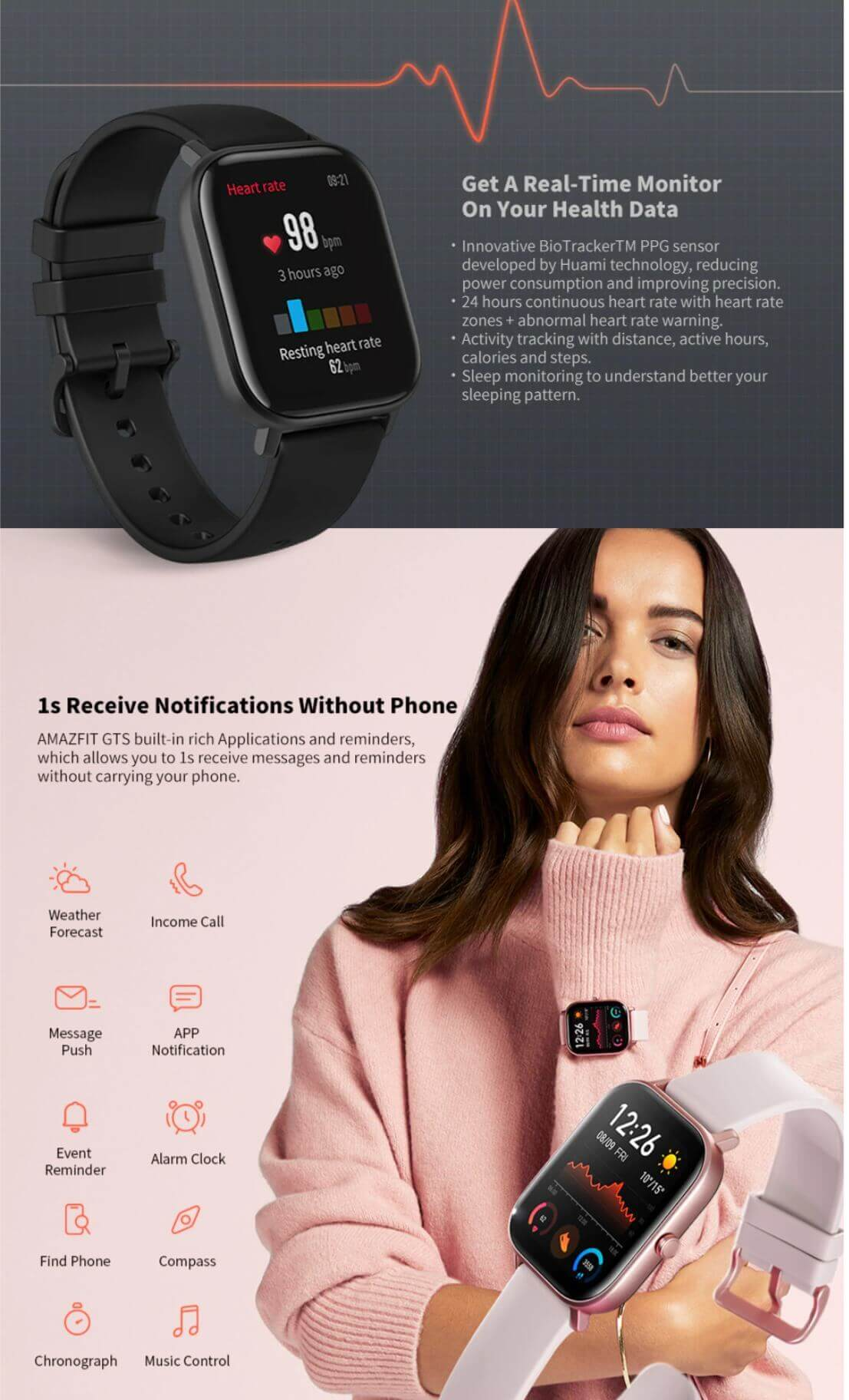 AMAZFIT GTS 1.65 inch GPS Smart Watch 12 Sports Mode