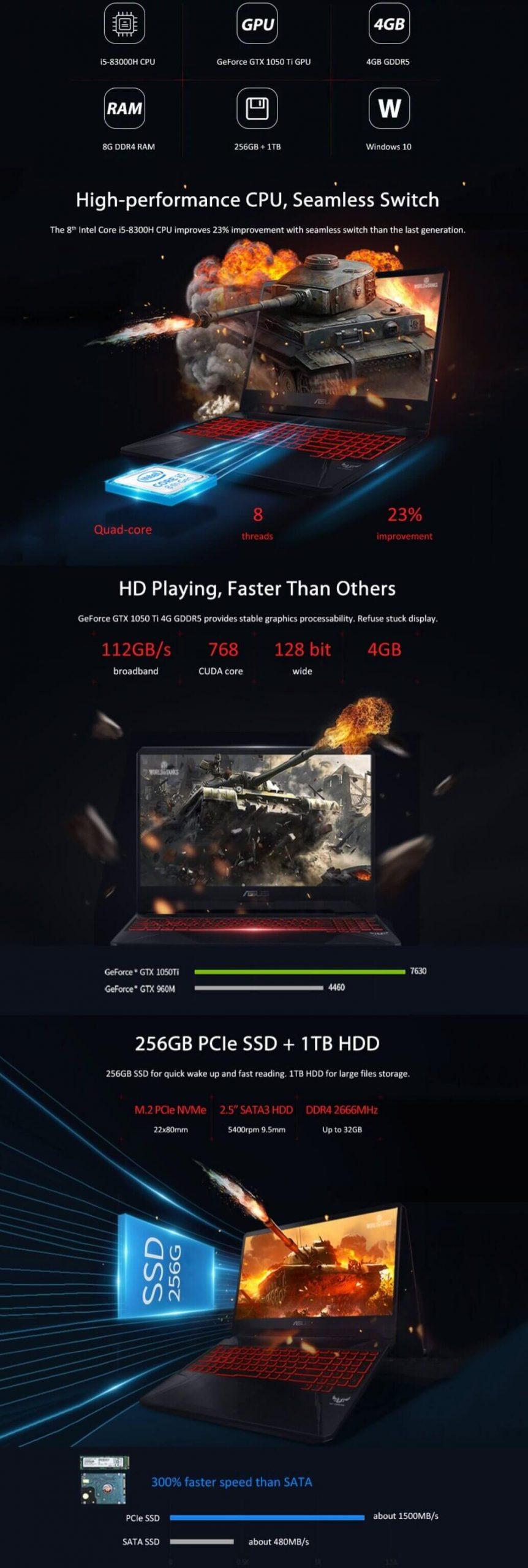 Black Color ASUS FX80 Gaming Laptop Sale - Asus Black Friday Deals 50% Off