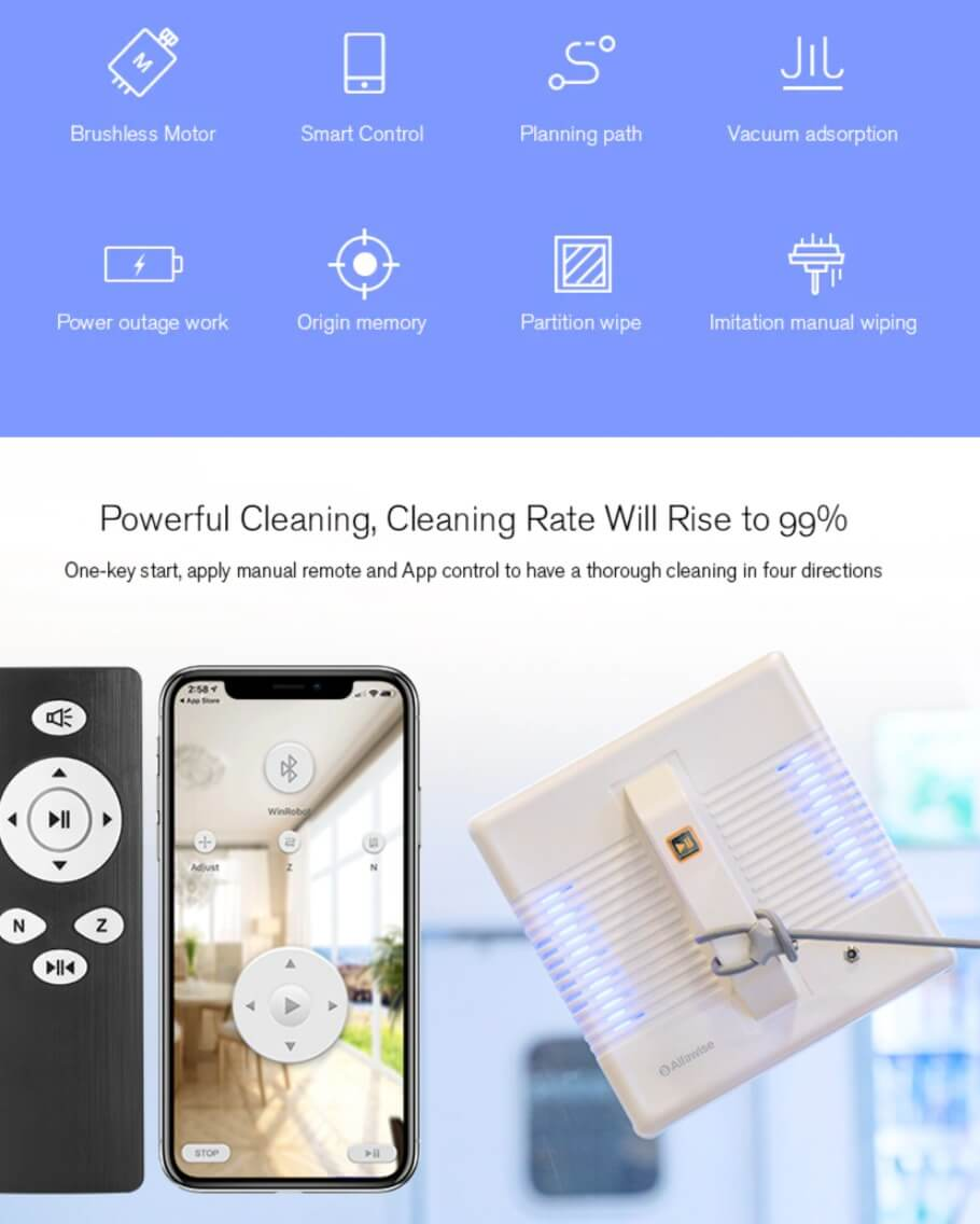 Automatic Smart Window Cleaning Robot Vacuum Glass Cleaner Deals