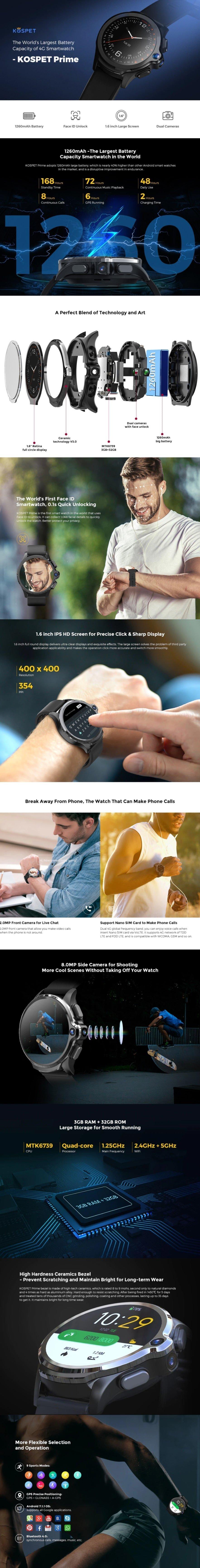 Black Friday Sale - KOSPET Prime 4G Smart Watch