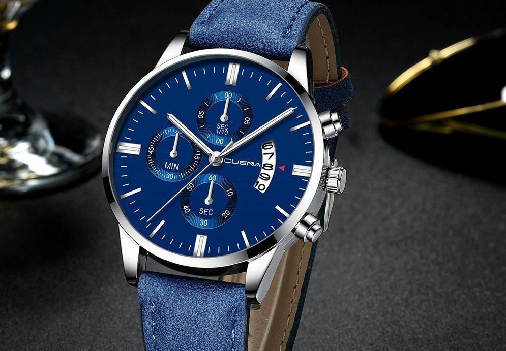 Men Leather Watch Faux Chronograph Date Quartz Watch Business Casual Watch