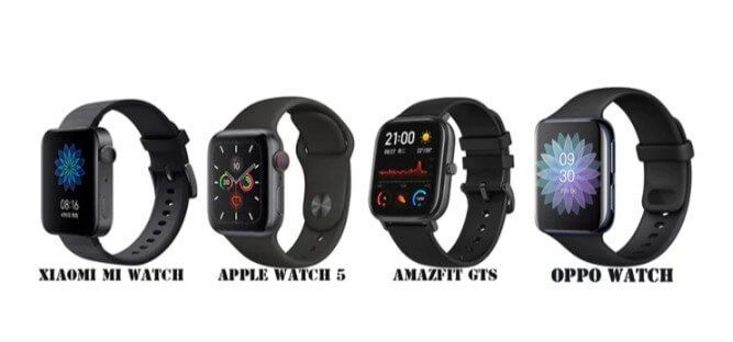 OPPO Watch VS Apple Watch 5 VS Amazfit GTS VS Xiaomi Mi Watch