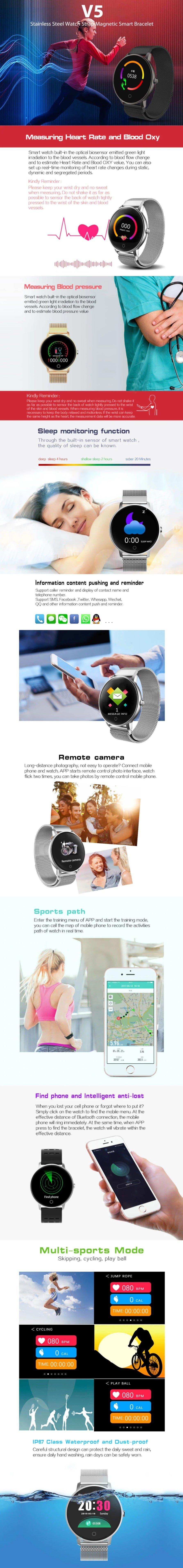 V5 Stainless Steel Watch Strap Magnetic Smart Bracelet black